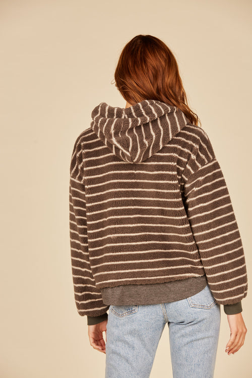 Striped Fuzzy Hoodie Sweater