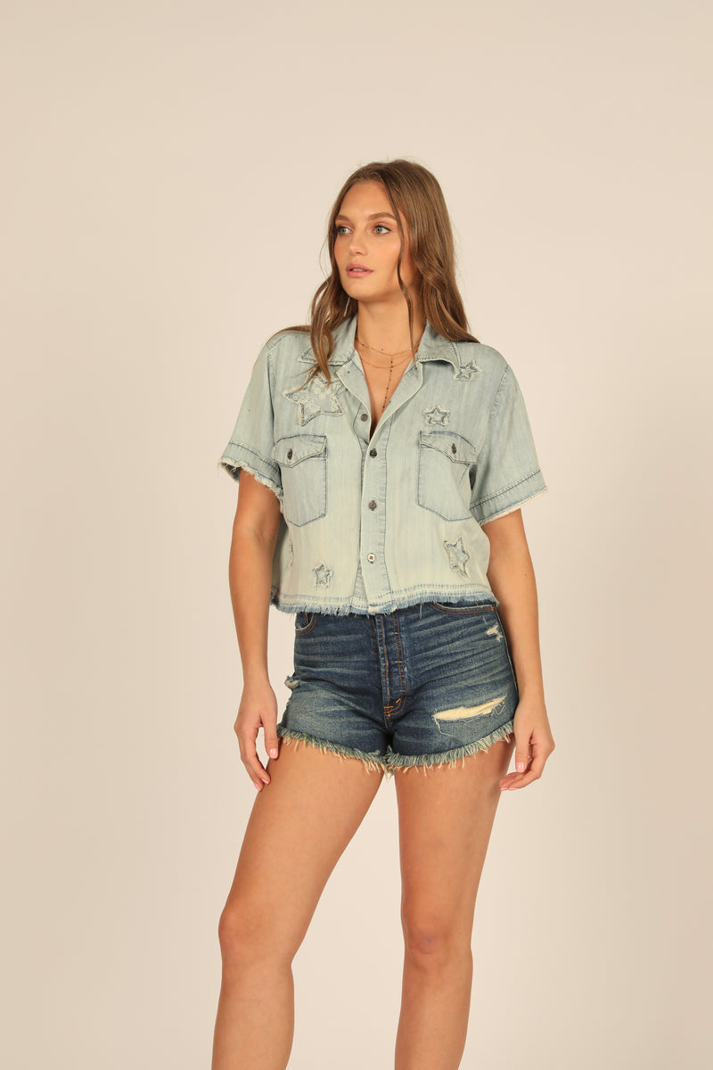 Denim Tencel Camp Shirt