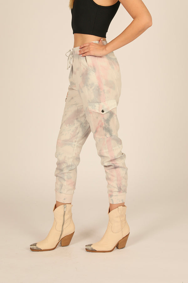 Soft Grey/Pink Tie Dye Tencel Mesh Pocket Joggers