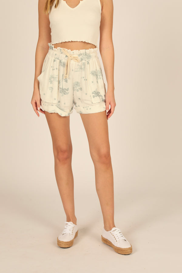 White Tropical Toile Print Paperbag Short