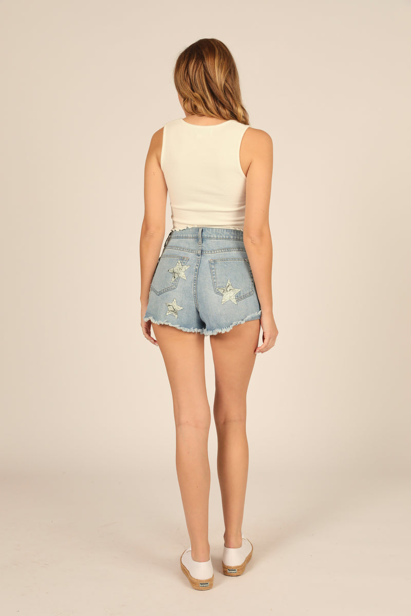 Light Denim High Waisted Applique Short
