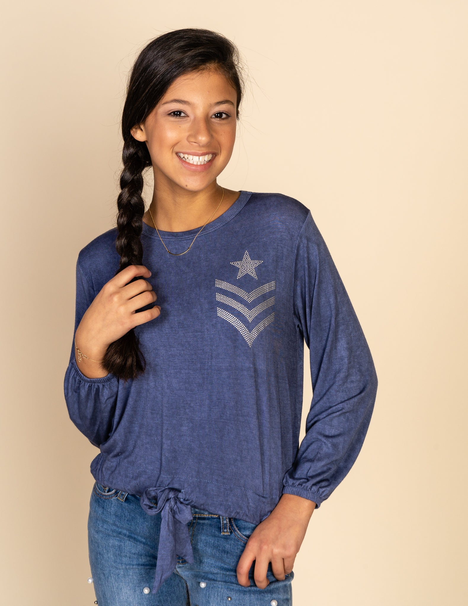 Tie Front Tee With Chevron Embellishment