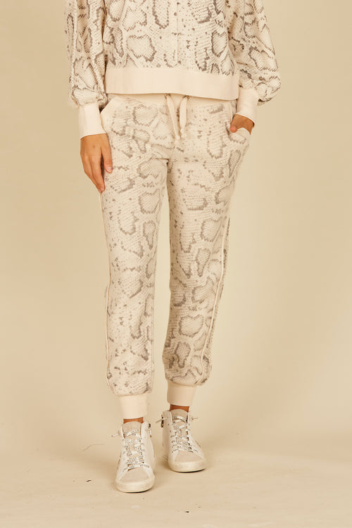 Tan Snakeskin Reverse Burnout Fleece Jogger