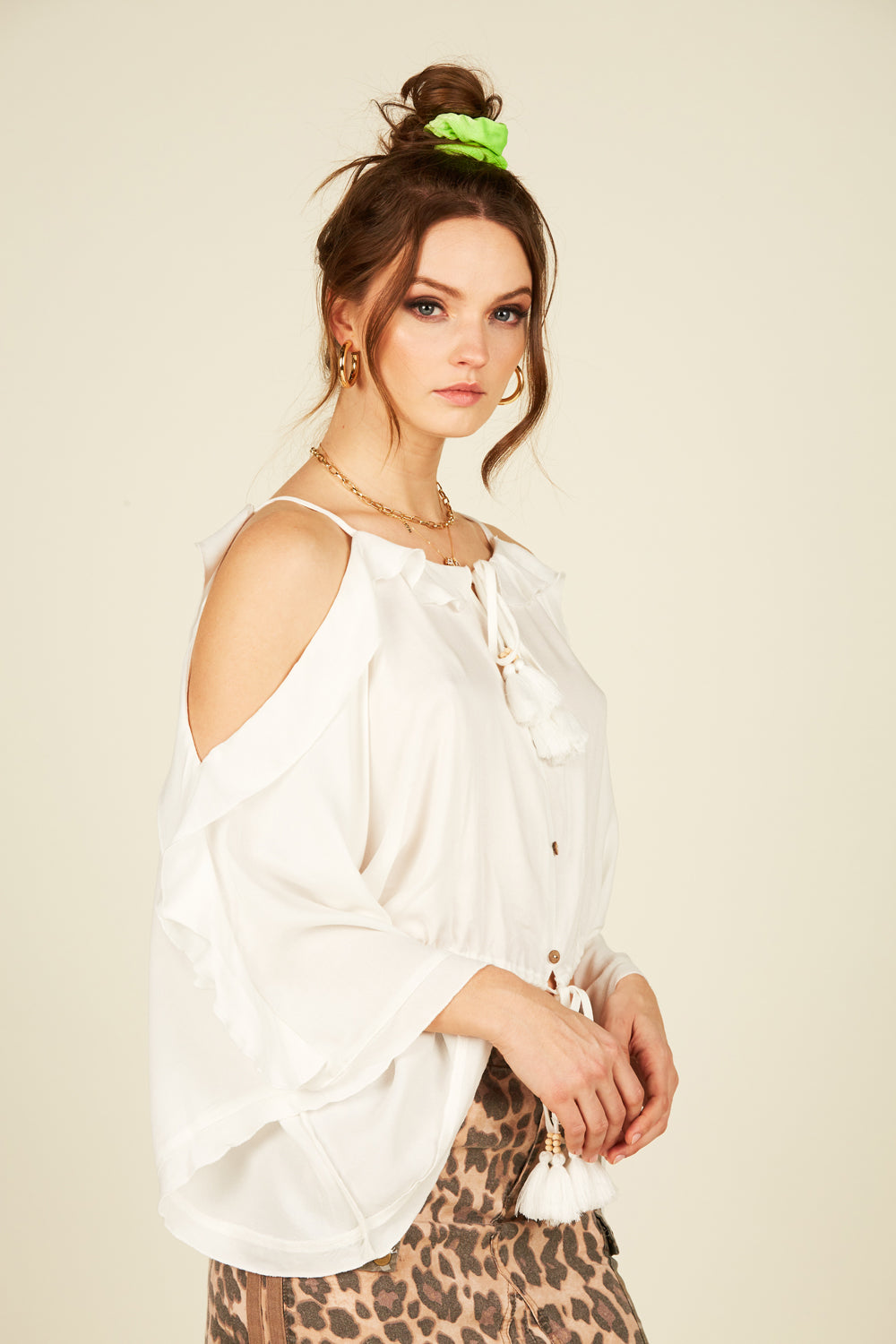 Cold Shoulder Surplice Blouse
