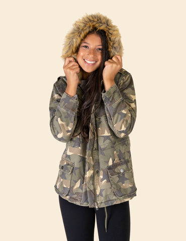 Soft Camo Off Shoulder Smock Top