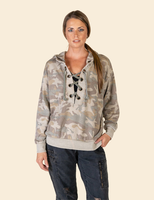 Olive Camo Thick Lace Up Burnout Hoody
