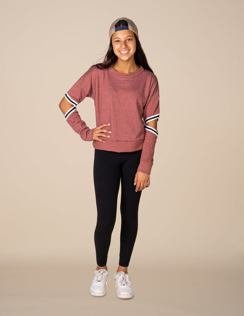 Striped Slit Elbow Cropped Sweatshirt