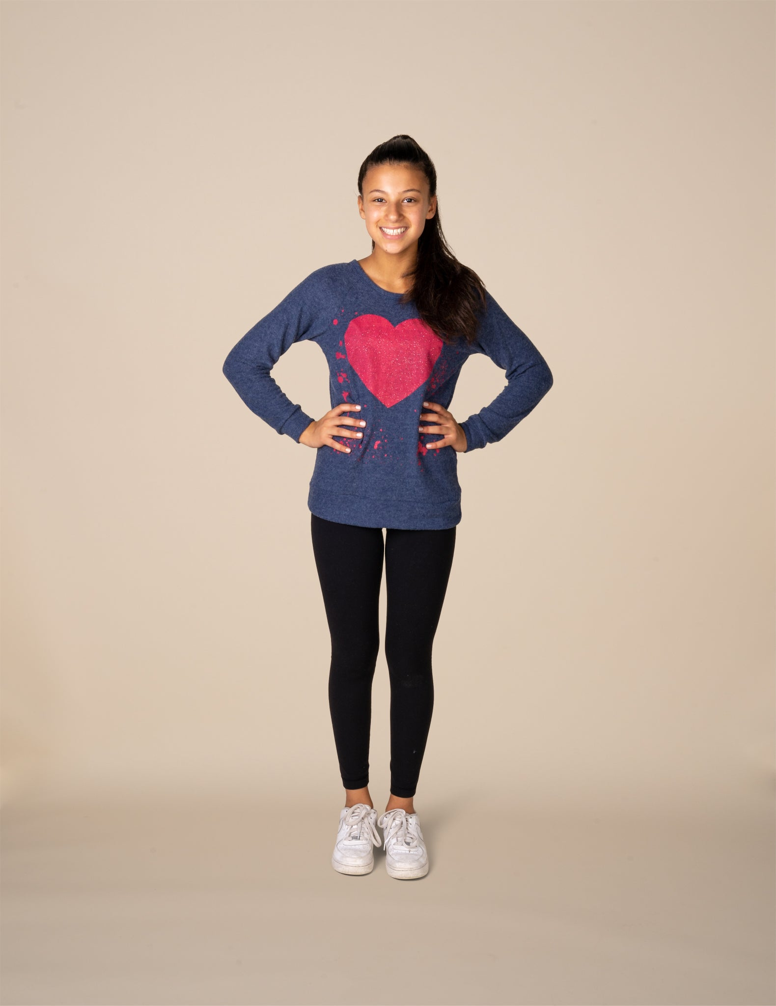 Brushed Hacci Heart Top