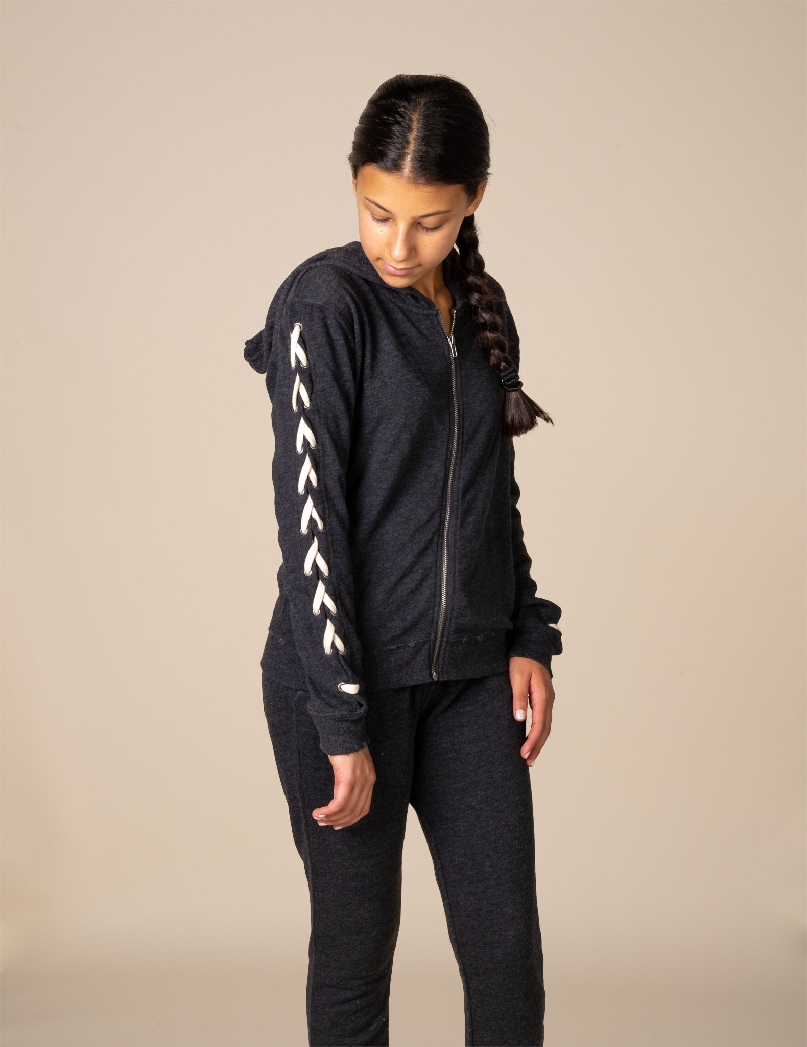 Terry Lace Up Sleeve Hoody