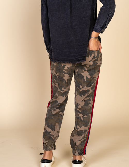 Kids Camo Jogger With Side Stripes