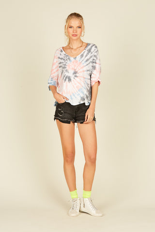 Black Rainbow Tie Dye Stripe Fleece Short