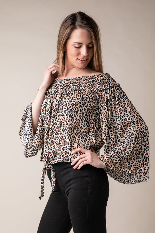 7f309da23fdb7 Leopard Print Off Shoulder Top
