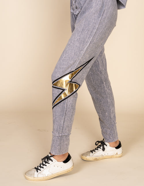 Lightning Bolt Lace Up Jogger Pants