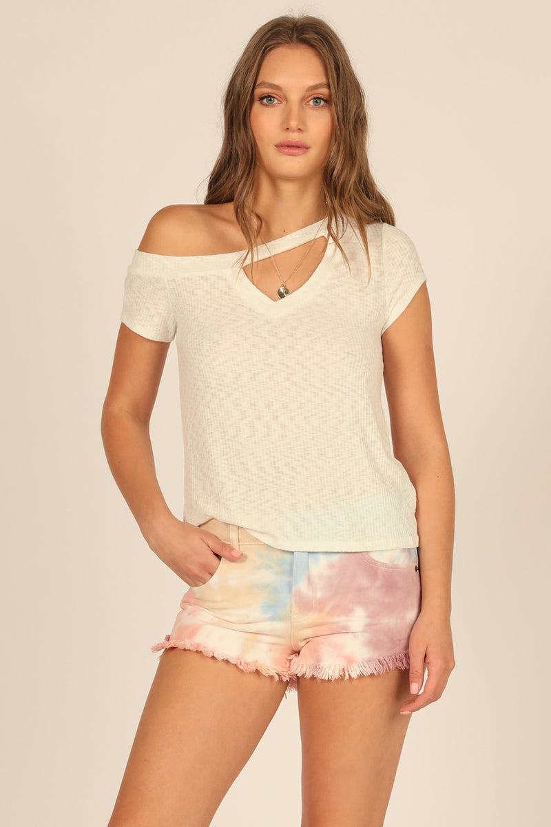 White Cut Out V-Neck Tee