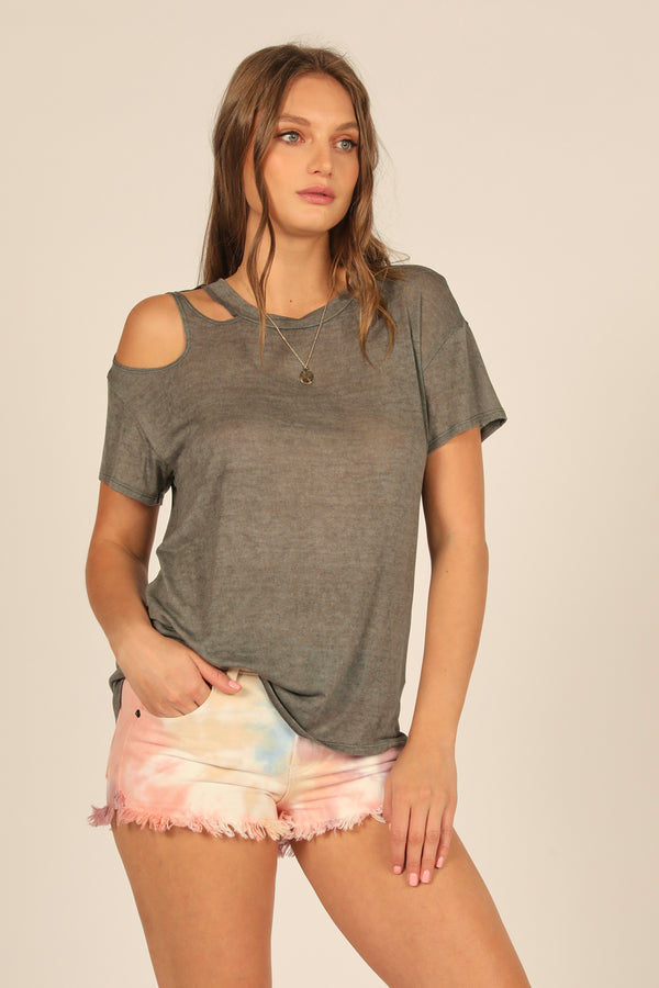 Dark Grey Slashed Shoulder Tee