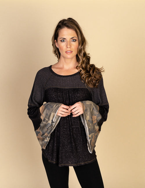 Mixed Media Camo Bell Sleeve Top