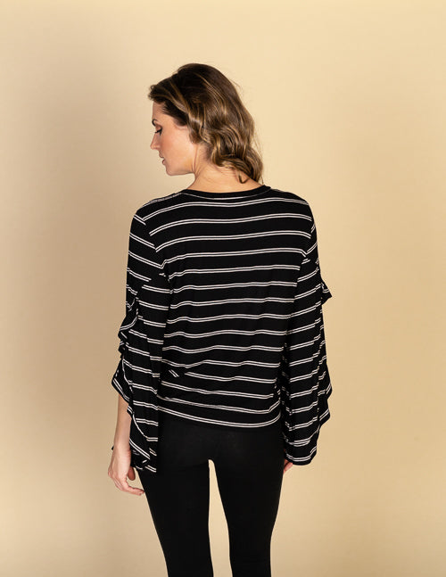 Texture Stripe Open Ruffle Sleeve Top
