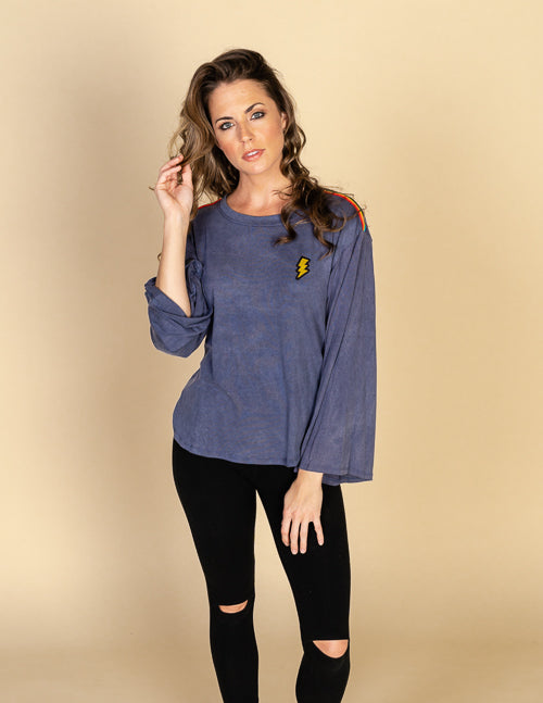 Rainbow Trim Lightning Bolt Dolman Tee