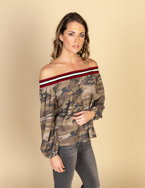 Baby French Terry Camo Off Shoulder Top
