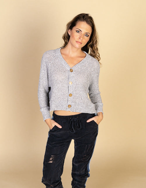 Coconut Button Boxy Crop Sweater