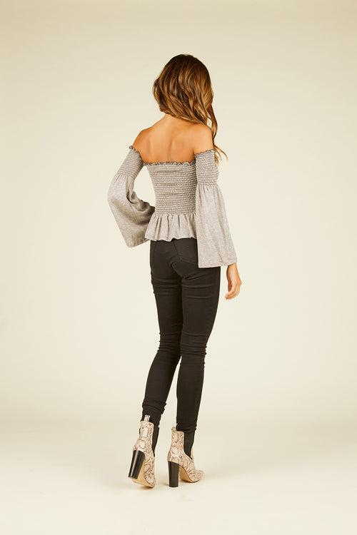Heather Grey Smock Off Shoulder Top