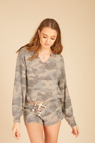 Camo Trim Tencel Shirt