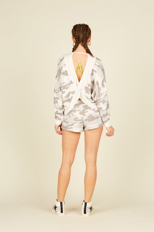 Summer Grey Camo Fleece Criss Cross Back Top
