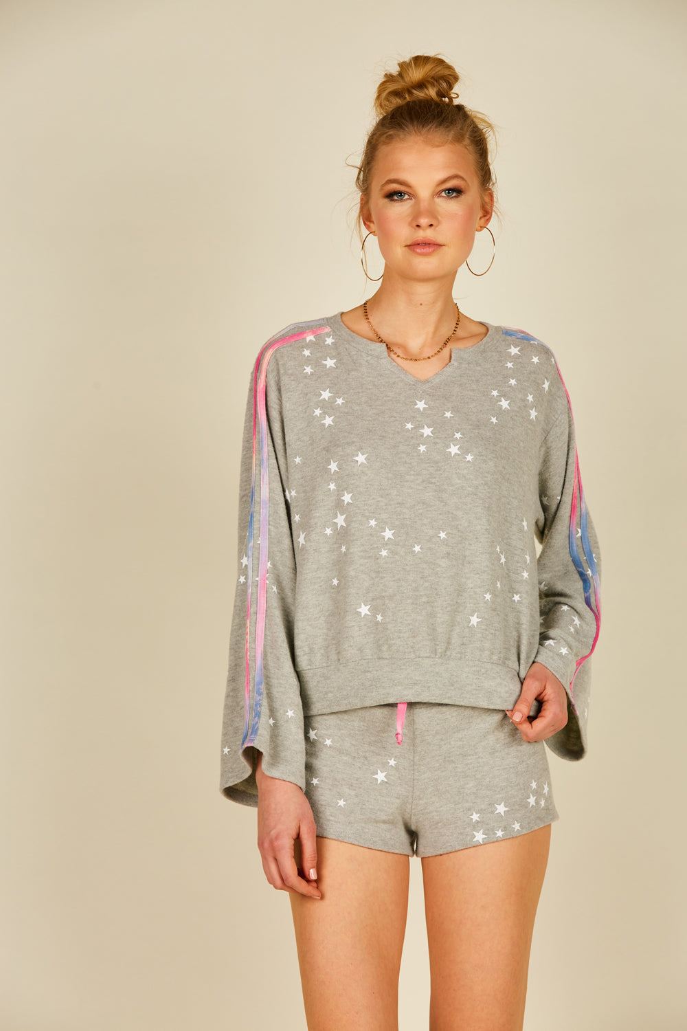 White/ Heather Grey Star Print Crew Neck