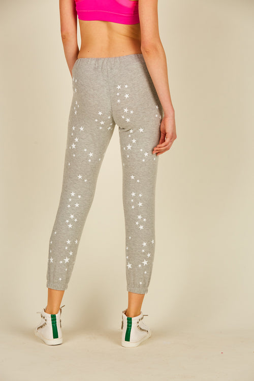 White/ Heather Grey Star Print Jogger