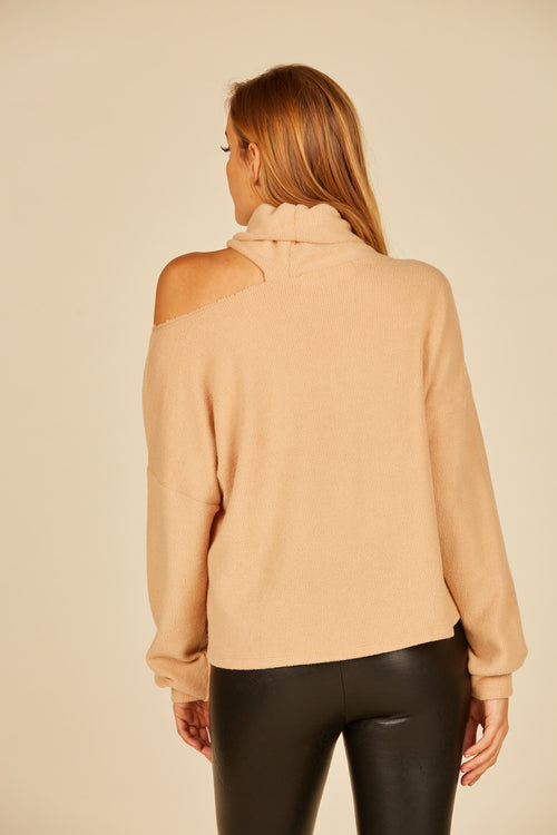 Camel Brushed Turtleneck Top