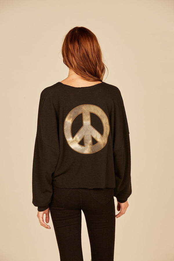 Black Camo Peace Crewneck