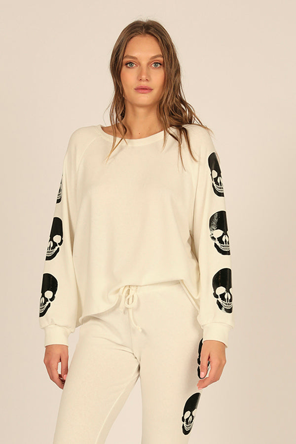 White Sand Skull Fleece Crew
