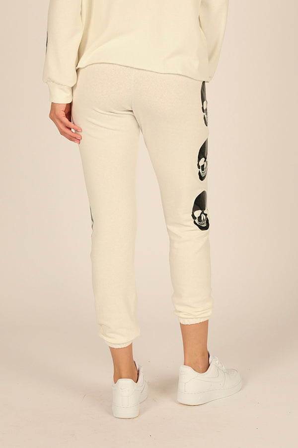 White Sand Skull Fleece Jogger