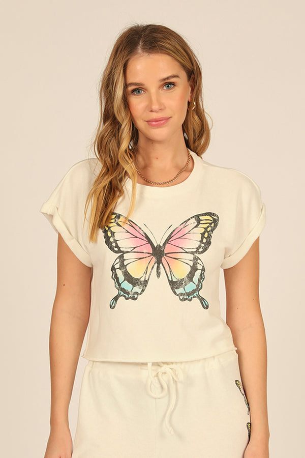 Multi Butterfly Graphic Top