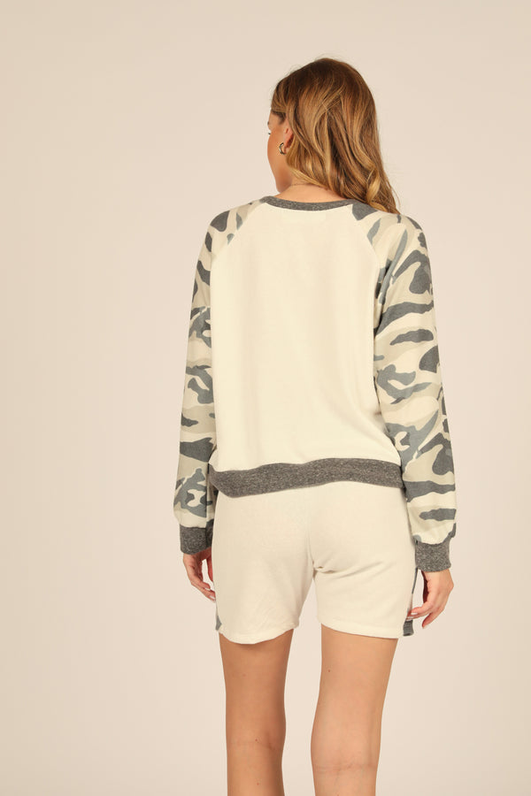 Camo Colorblock Crewneck