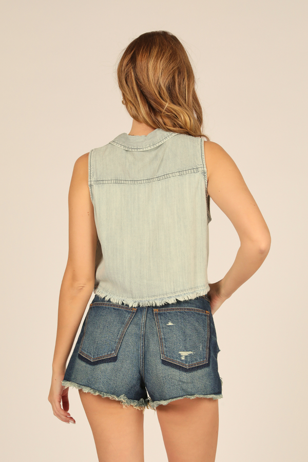 Denim Cropped Sleeveless Shirt