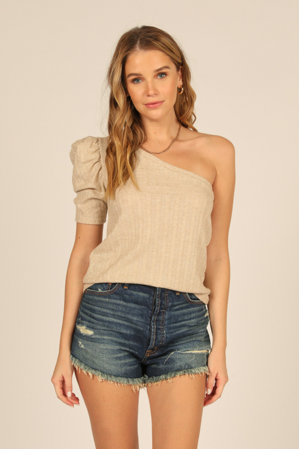 One Shoulder Puff Sleeve Top
