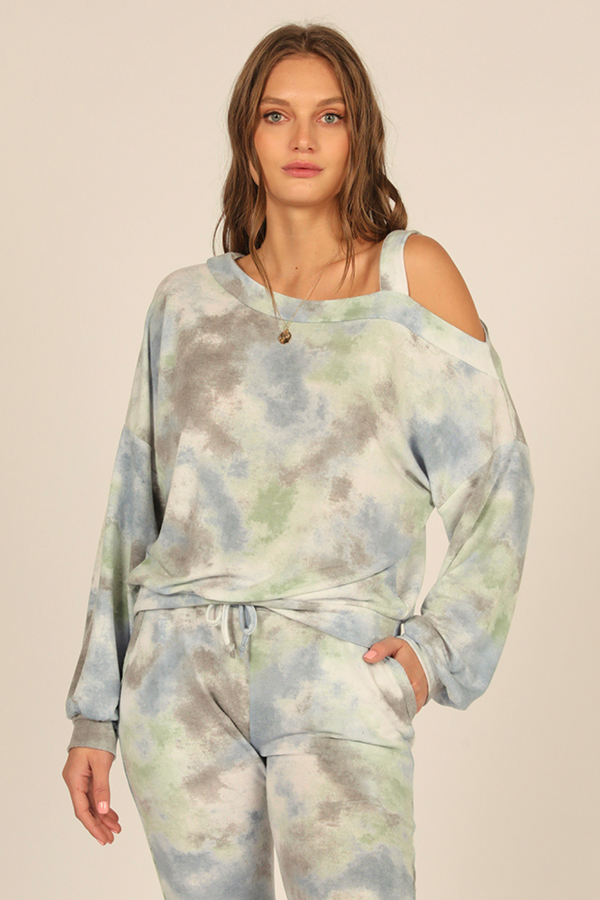 Brushed Hacci Tie Dye Cold Shoulder Top