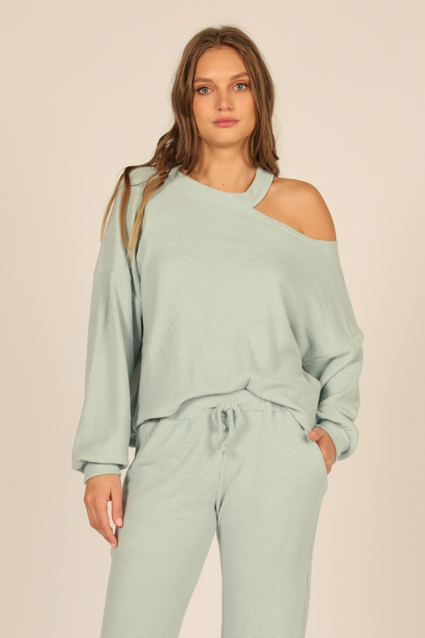 Chambray Brushed Hacci One Shoulder Top