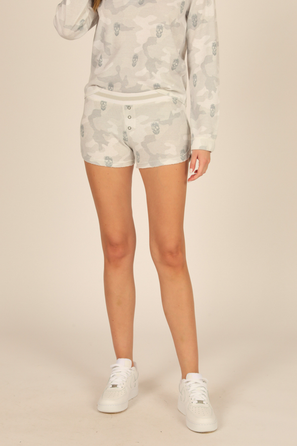 White/Grey Camo & Skull Print Thermal Lounge Shorts