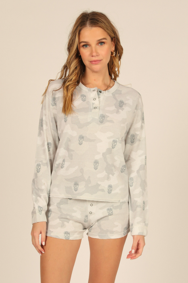 Grey Camo Thermal Henley