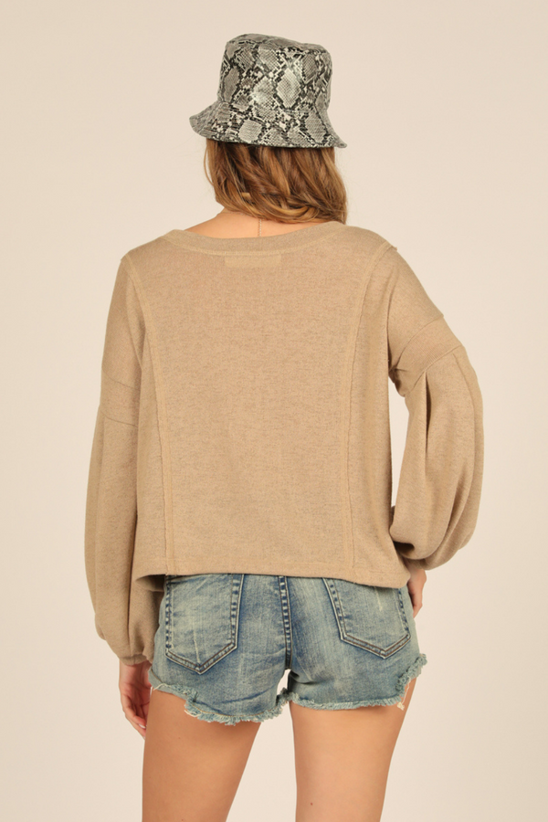 Taupe Lightweight Knit Top