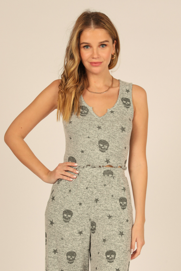 Heather Grey & Charcoal Print Skull Tank
