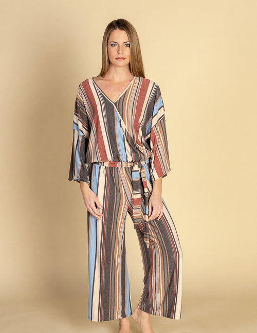 Autumn Striped Wrap Kimono Sleeve Jumper