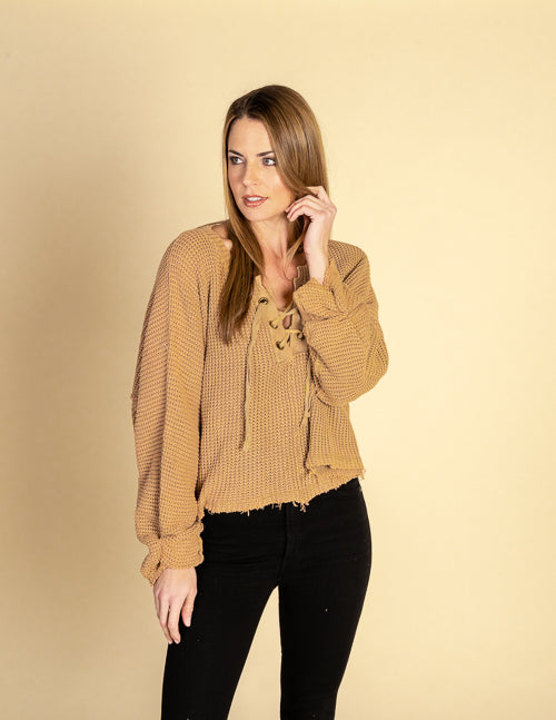 Washed Chunky Lace Up Tie Sleeve Sweater