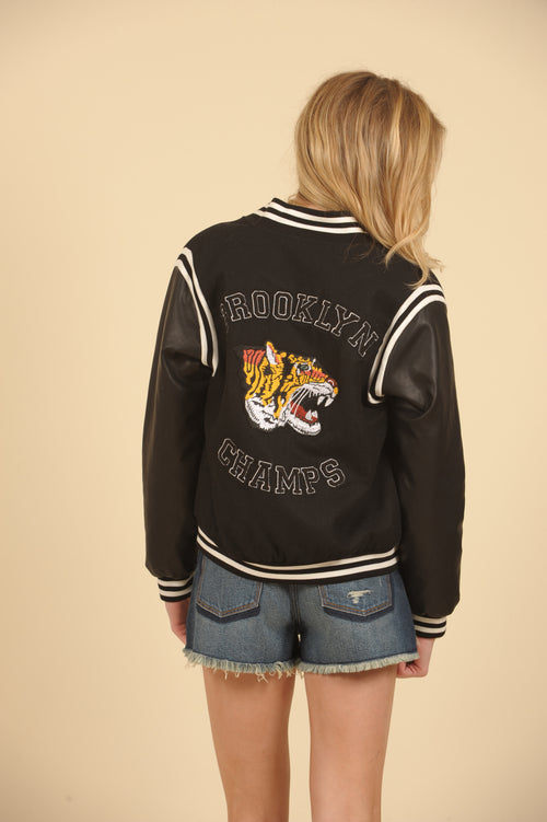 Leather Sleeve Patch Bomber Jacket