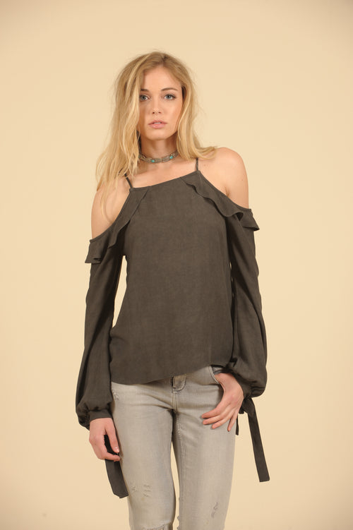 Ruffle Cold Shoulder Tie Sleeve Top