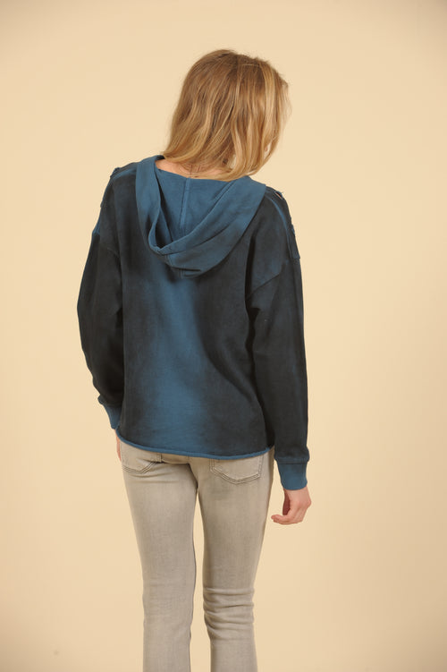 Grommet Lace Up Ripped Hoody