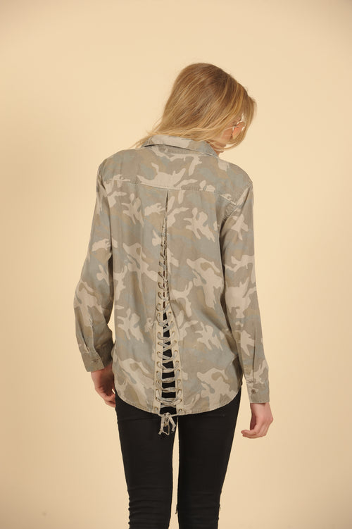 Camo Button Down Lace Up Back