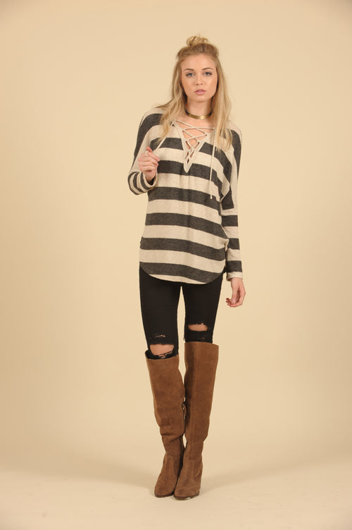 Thick Stripe Lace Up Brushed Hacci Top